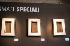 Ausstellung von Teigwaren in Italien Stockbilder