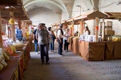 Ausstellung von Teigwaren in Italien Stockfotografie