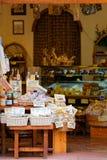 Ausstellung von typischen Produkten von Pienza, Toskana Lizenzfreies Stockbild