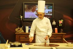 Ausstellungen in Schokolade-Herstellungsschule Perugina lizenzfreies stockfoto