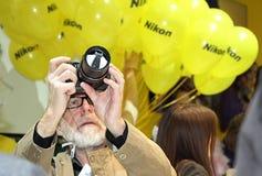 Ausstellungsausrüstung für Fotografie in Moskau am 12. April 2015 Stockfotos