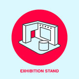 Ausstellungsfahnenstand-Vektorlinie Ikone Bekanntmachen des Zeichens lizenzfreie abbildung