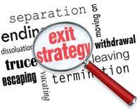 Ausstiegsstrategie-Lupen-Ausweg-Vertrags-Partnerschaft Marr Stockfoto