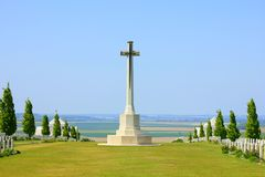The austalian cemetery of the fisrt worldwar at villers bretonneux in picardy stock photo