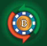 Austausch Bitcoin auf dem grünen Hintergrund Lizenzfreies Stockbild