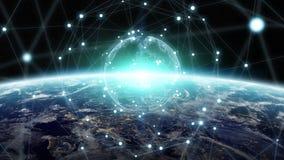 Austausch des globalen Netzwerks und der Daten über der Planet Erde 3D zerreißen vektor abbildung