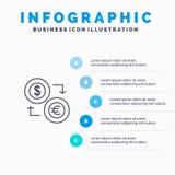 Austausch, Münzen, Währung, Dollar, Euro, Finanzierung, finanziell, Geld-Linie Ikone mit Hintergrund infographics Darstellung mit lizenzfreie abbildung