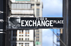 Austausch-Platzzeichen Stockbild