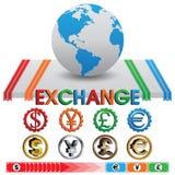 Austausch-und Währungs-Vektor Stockfotos