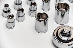 Austauschbare Stahlköpfe lokalisiert auf Weiß Lizenzfreie Stockfotos