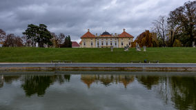 Austelitz, Slavkov Castle with lagoon. Austelitz, Slavkov Castle and lagoon with castle reflection stock image