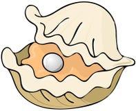 Auster mit einer Perle Stockbild