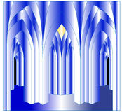 Austere foyer of the Gothic style Stock Images