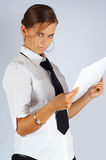 Austere secretary. With a draft royalty free stock photo