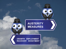 Austerity measures signs. Government austerity measures signs against a cloudy blue sky Stock Photography