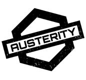 Austerity rubber stamp. Grunge design with dust scratches. Effects can be easily removed for a clean, crisp look. Color is easily changed Stock Image