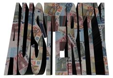 Austerity text with euros illustration Stock Image