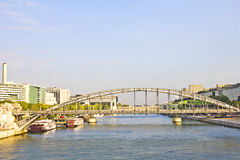 Austerlitz bridge and modern buildings in Paris Stock Photos