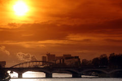 Austerlitz bridge in paris. Sunset on austerlitz bridge in paris Royalty Free Stock Images