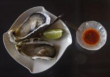 Austern und Würzen für das Mittagessen lizenzfreies stockbild