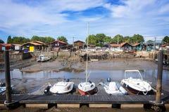 Austernhafen von La Teste, ` Arcachon Frankreich Bassin d lizenzfreies stockfoto