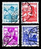 Austian从服装serie的邮票,大约1934年 免版税图库摄影