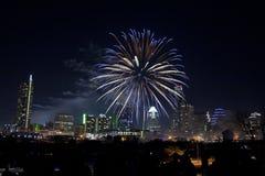 Austin céntrica, fuegos artificiales de Tx Imagenes de archivo