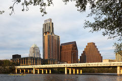 A View of the Skyline Austin at Sunset in Texas Royalty Free Stock Photography