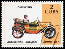 Austin, 1922, Cars serie, circa 1984. MOSCOW, RUSSIA - MARCH 23, 2019: Postage stamp printed in Cuba shows Austin, 1922, Cars serie, circa 1984 stock image
