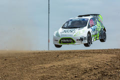 Austin Cindric rally driver jumps Stock Images
