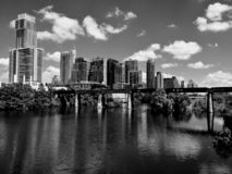 The Austin City Skyline in Black & White royalty free stock photography