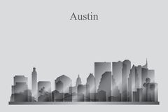 Austin city skyline silhouette in grayscale Stock Image
