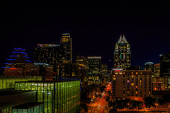 Austin Cityscape do centro na noite Imagens de Stock Royalty Free