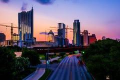 Austin Cityscape Twilight-zonsondergang Stedelijke Stad stock afbeeldingen