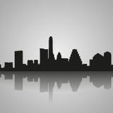 Austin czerni sylwetka z odbiciem tła miasta projekta linia horyzontu wektor twój royalty ilustracja