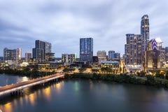 Austin Downtown bij nacht royalty-vrije stock afbeeldingen