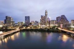 Austin Downtown på natten Tx Förenta staterna Royaltyfri Bild