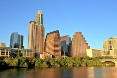 Austin Downtown Skyline al tramonto fotografia stock libera da diritti