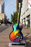 Austin, Guitar. Austin Guitar art on congress avenue where the fan fest took place for formula one Royalty Free Stock Photography