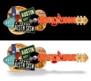 Austin Guitar Vintage Artwork Folk Art. Austin Music Festival Guitar Vintage Artwork Folk Art Roadsigns Record Country Music vacation road trip grunge royalty free stock photo