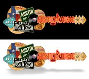 Austin Guitar Vintage Artwork Folk-Kunst lizenzfreies stockfoto