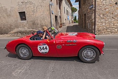 Austin Healey 100/4 BN1 (1955) in Mille Miglia 2014 Royalty-vrije Stock Foto's