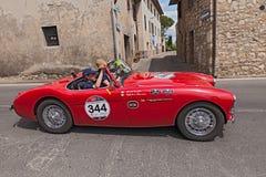 Austin Healey 100/4 BN1 (1955) in Mille Miglia 2014 Lizenzfreie Stockfotos