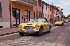 Austin Healey 100-6 1957 i Mille Miglia 2017 Arkivbilder