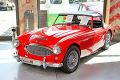 Austin-Healey 3000 Mk II. BERLIN, GERMANY - AUGUST 12, 2014: Classic british sports car Austin-Healey 3000 Mk II in the museum of vintage cars Classic Remise royalty free stock photos