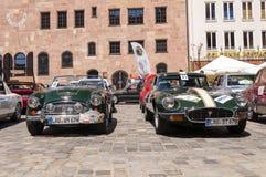 Austin Healey 3000 MK II i Jaguar E typ Obraz Stock