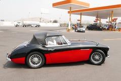 Austin Healey 3000 Mk III in een benzinestation, Lima Stock Foto's