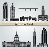 Austin landmarks and monuments. Isolated on blue background in editable vector file Stock Images