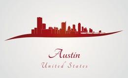 Austin linia horyzontu w czerwieni ilustracja wektor