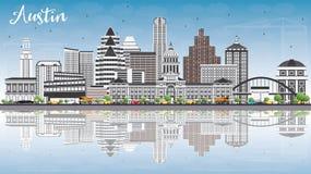Austin linia horyzontu z Szarymi budynkami, niebieskim niebem i odbiciami, royalty ilustracja